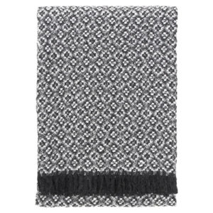 Lapuan kankurit KETO huopa 130x170cm +hapsut 8 tumma harmaa-valkoinen 100_ villa
