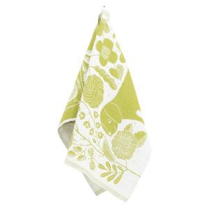 Lapuan kankurit KOIRA JA KISSA pyyhe 48x70cm 8 valkoinen-vihreä pesty pellava-orgaaninen puuvilla