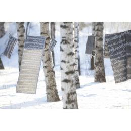 Lapuan kankurit KOIVU laudeliina 46x200cm 29 valkoinen-musta pellava-orgaaninen puuvilla