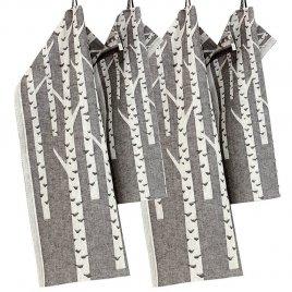 Lapuan kankurit KOIVU pyyhe 35x50cm 9 valkoinen-musta pellava-orgaaninen puuvilla