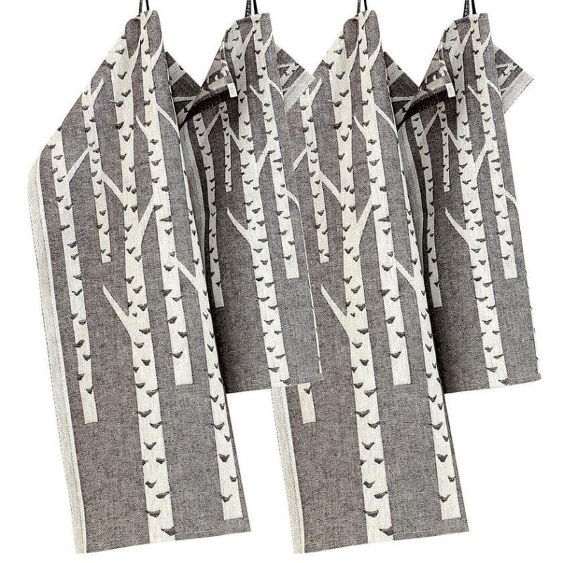 Lapuan kankurit KOIVU pyyhe 46x70cm 9 valkoinen-musta pellava-orgaaninen puuvilla