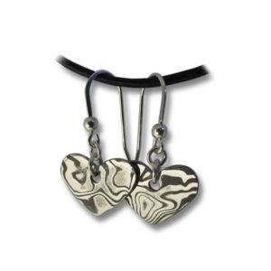 Damastikoru Sydän korvakorut (hopeakoukuilla)