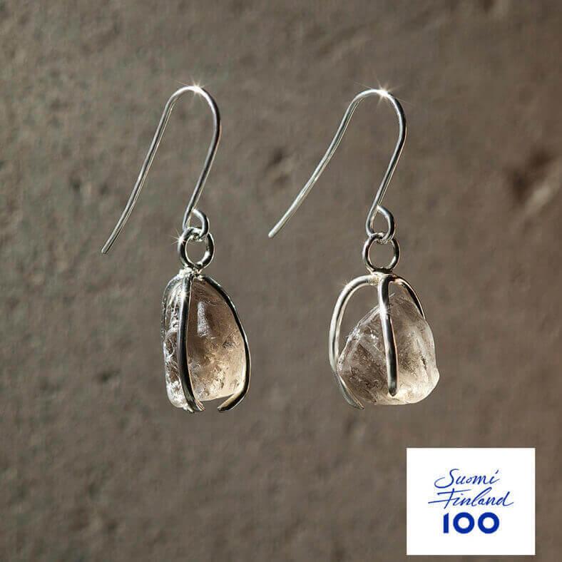 Namu Jewellery Karu Savukvartsi korvakorut (vaalea) Suomi100
