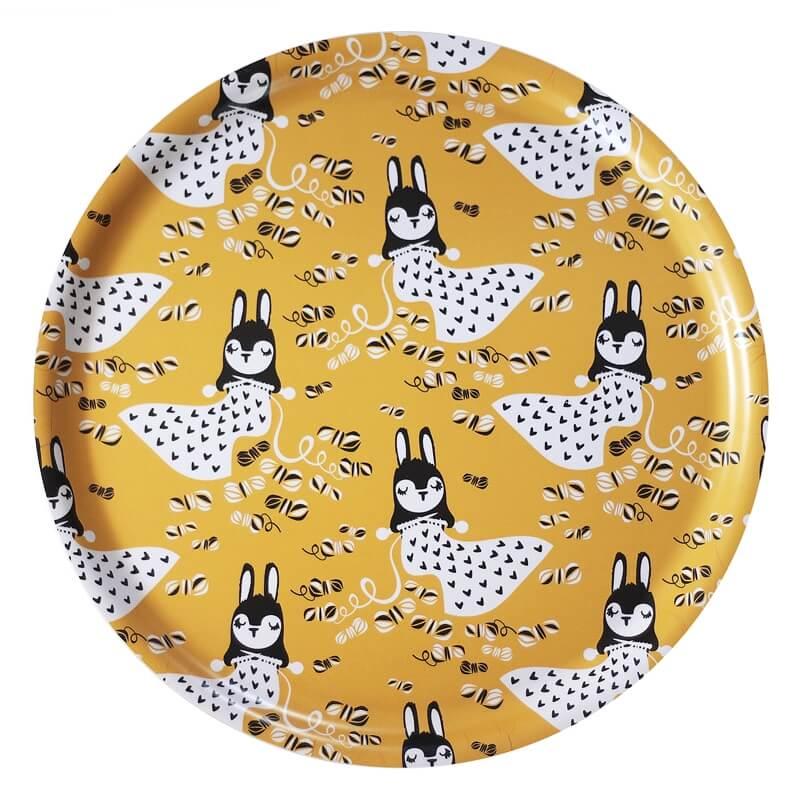 PaaPii Design tarjotin Linnea neuloo (keltainen)