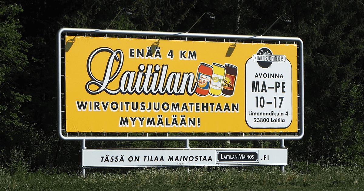 Laitilan Wirvoitusjuomatehtaan Tehtaanmyymälän mainos