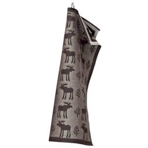 Lapuan Kankurit Hirvi pyyhe 48x70cm (musta-pellava pellava-puuvilla)
