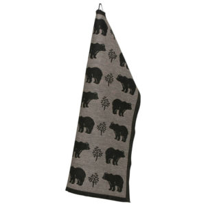 Lapuan Kankurit Karhu pyyhe 48x70cm (musta-pellava pellava-puuvilla)
