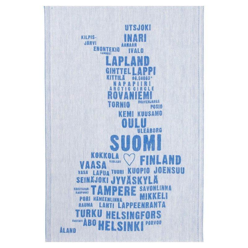 Lapuan Kankurit My Finland pyyhe 46x70cm (valkoinen-sininen pellava-puuvilla)