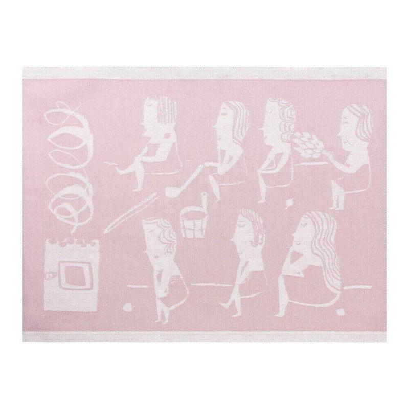 Lapuan Kankurit Naisten sauna laudeliina 46x150cm (valko-roosa)