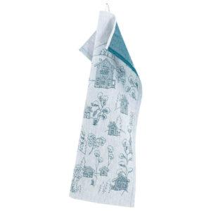 Lapuan Kankurit Vinterstuga pyyhe 46x70cm (valkoinen-petrooli pellava-puuvilla)