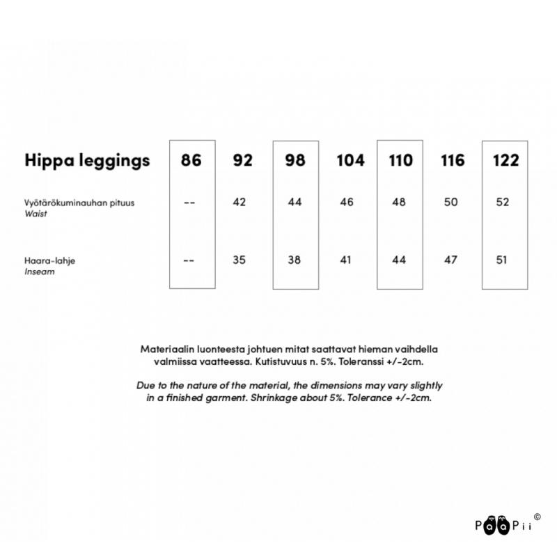 PaaPii Design Hippa legginsit kokotaulukko