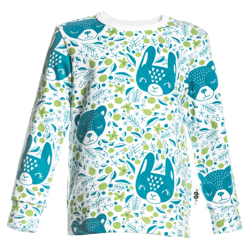 PaaPii Design Rusko pyjama Marjaunelma petrooli-metsä paita