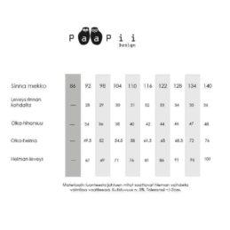 PaaPii Design Sinna kellohamemekko Omenapiha (vaaleansininen) kokotaulukko