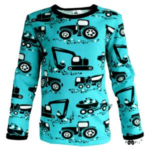 PaaPii Design Uljas lasten paita työkoneet turkoosi