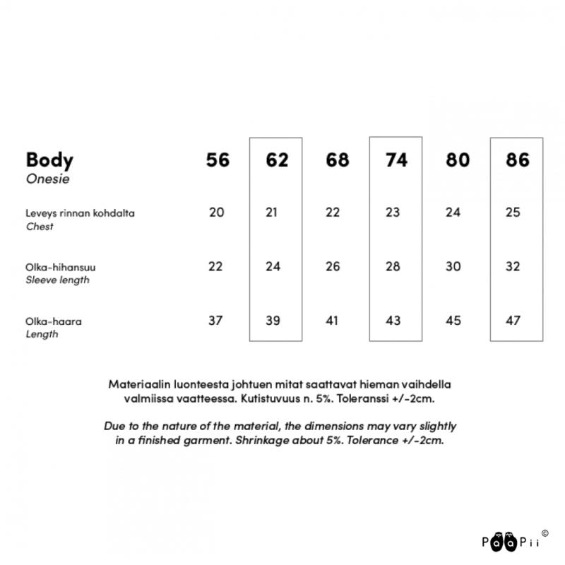 PaaPii Design body kokotaulukko