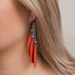 Aarikka Hopeasiipi korvakorut aamuruskon oranssi