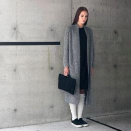 Aurora Sofia Usva pitkä villatakki harmaa