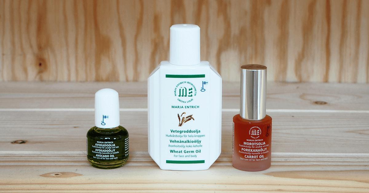 Marja Entrich ravintoöljyt ihon aktiiviseen hoitoon ja hierontaan