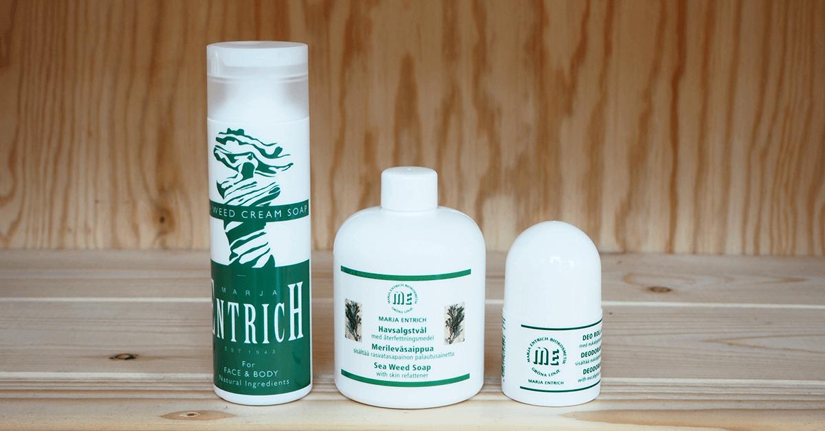 Marja Entrich luonnonkosmetiikkatuotteet vartalon pesuun ja hoitoon