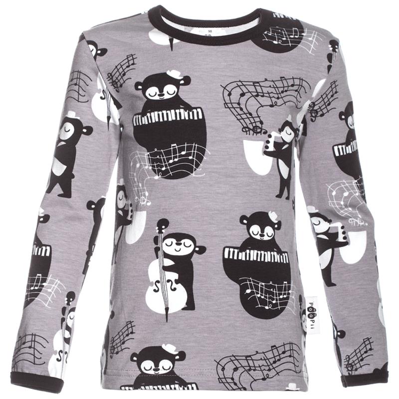 PaaPii Design Uljas lasten paita Rytmi harmaa