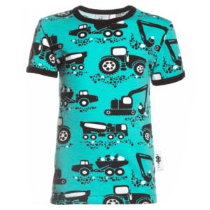 PaaPii Design Visa lasten T-paita Työkoneet turkoosi