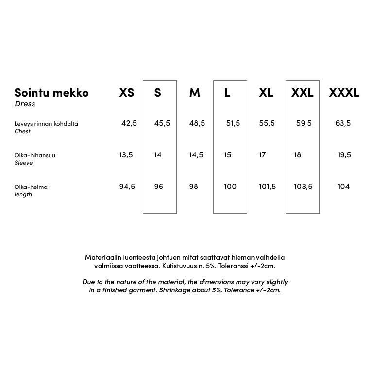PaaPii Design Sointu mekko kokotaulukko 1