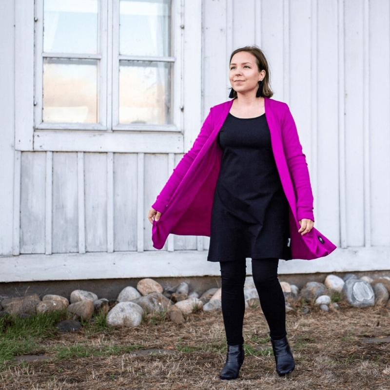 PaaPii Design Syli merinovillatakki violetti takki auki