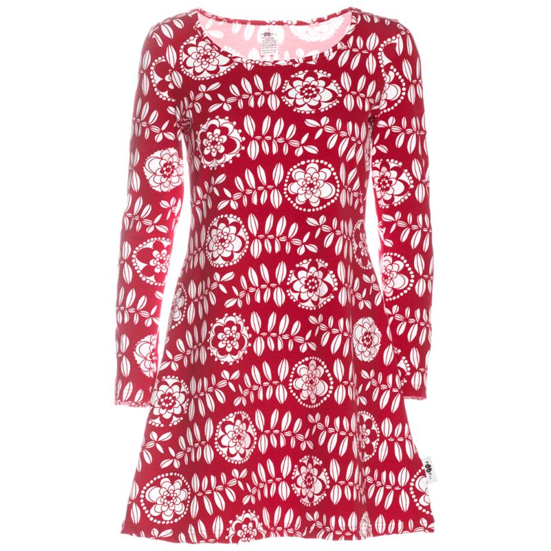 PaaPii Design Sumu tunika Lumikukka punainen-valkoinen
