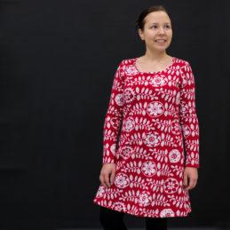 PaaPii Design Sumu tunika Lumikukka punainen-valkoinen etu