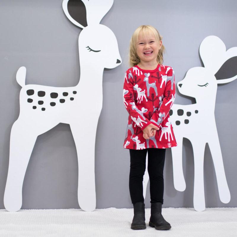 PaaPii Design Vieno tunika Bambi punainen-harmaa bambien kanssa