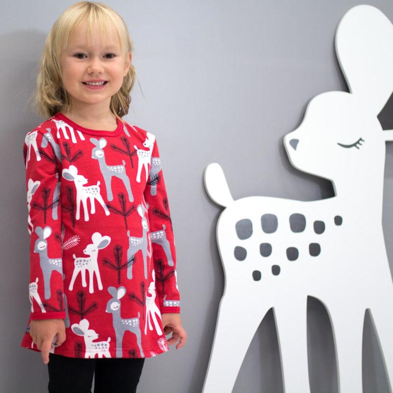PaaPii Design Vieno tunika Bambi punainen-harmaa lähi