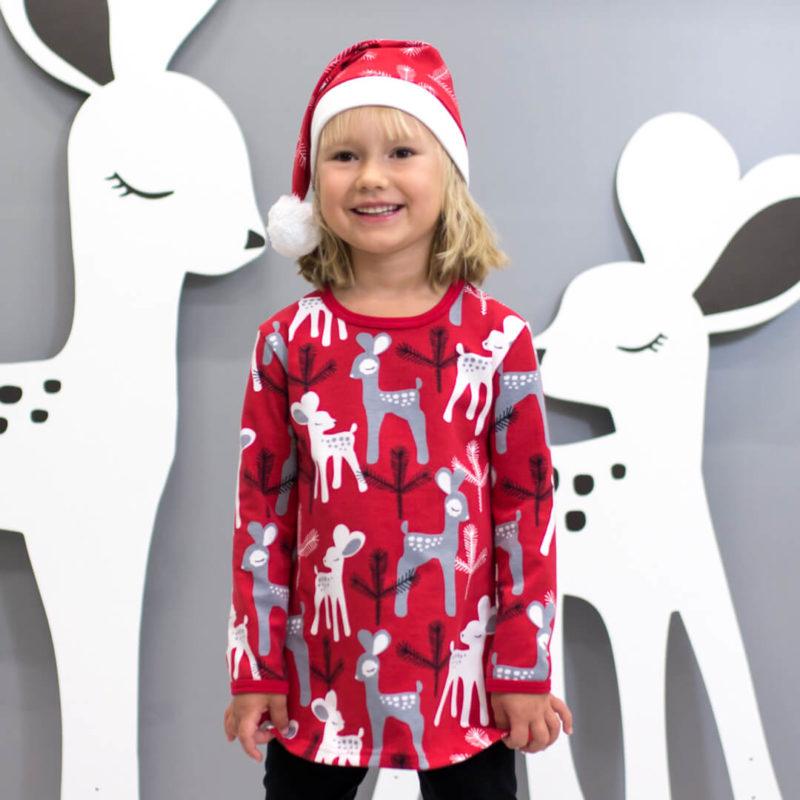 PaaPii Design Vieno tunika Bambi punainen-harmaa yllä