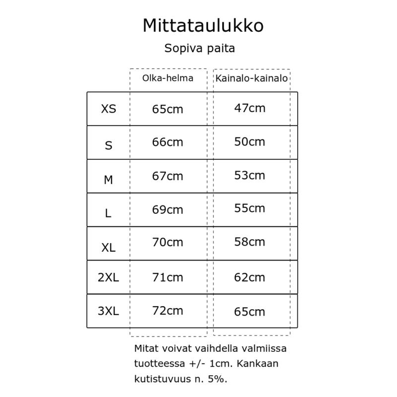 Kanto Design Sopiva paita mittataulukko