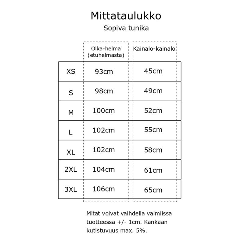 Kanto Design Sopiva tunika mittataulukko