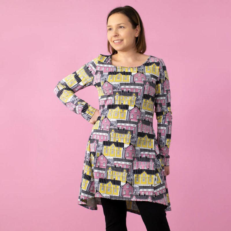 PaaPii Design Heija tunika Vanhakaupunki vaaleanpunainen-keltainen edestä