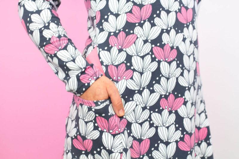 PaaPii Design Kannel tunika Kimppu tummanharmaa-vaaleanpunainen tasku