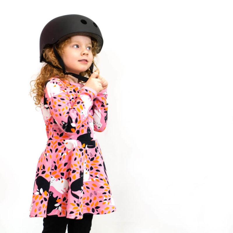 PaaPii Design Sinna kellohelmamekko Piilo vaaleanpunainen-oranssi kypärä