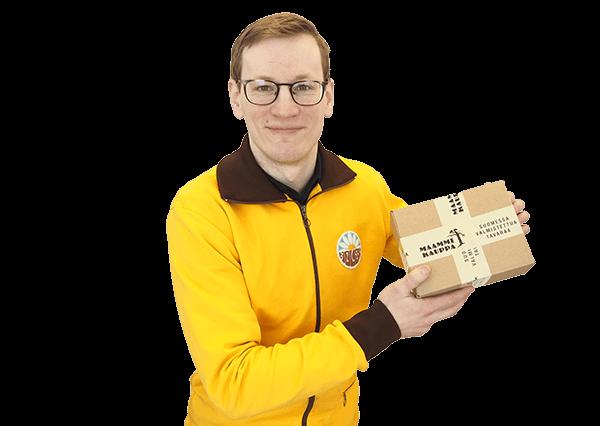 Kauppias paketin kanssa