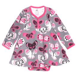 PaaPii Design mekkobody Perhoset harmaa-pinkki
