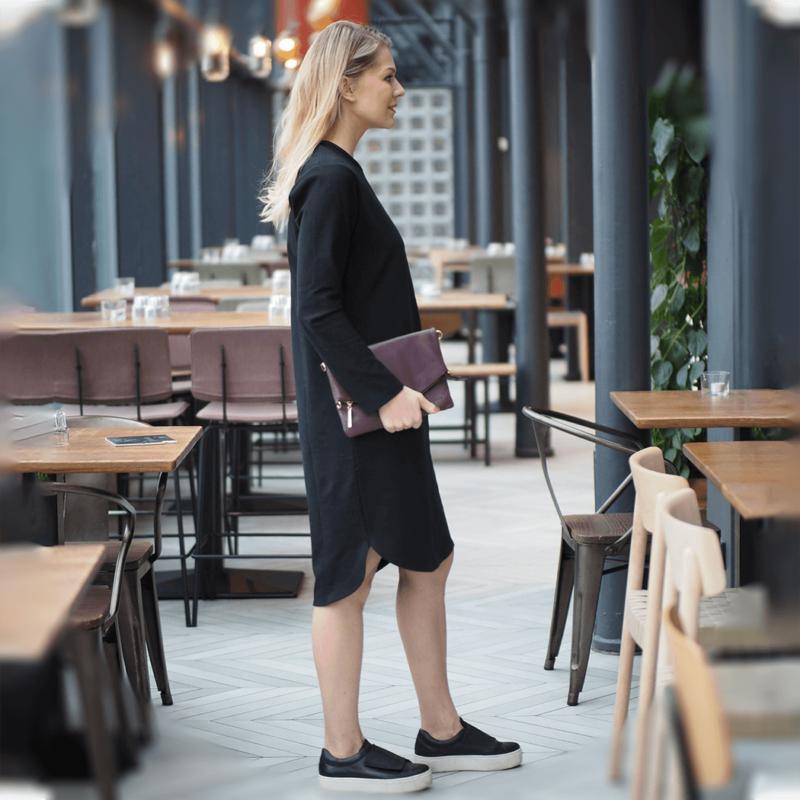 kanto design sopiva tunika sopiva musta laukulla