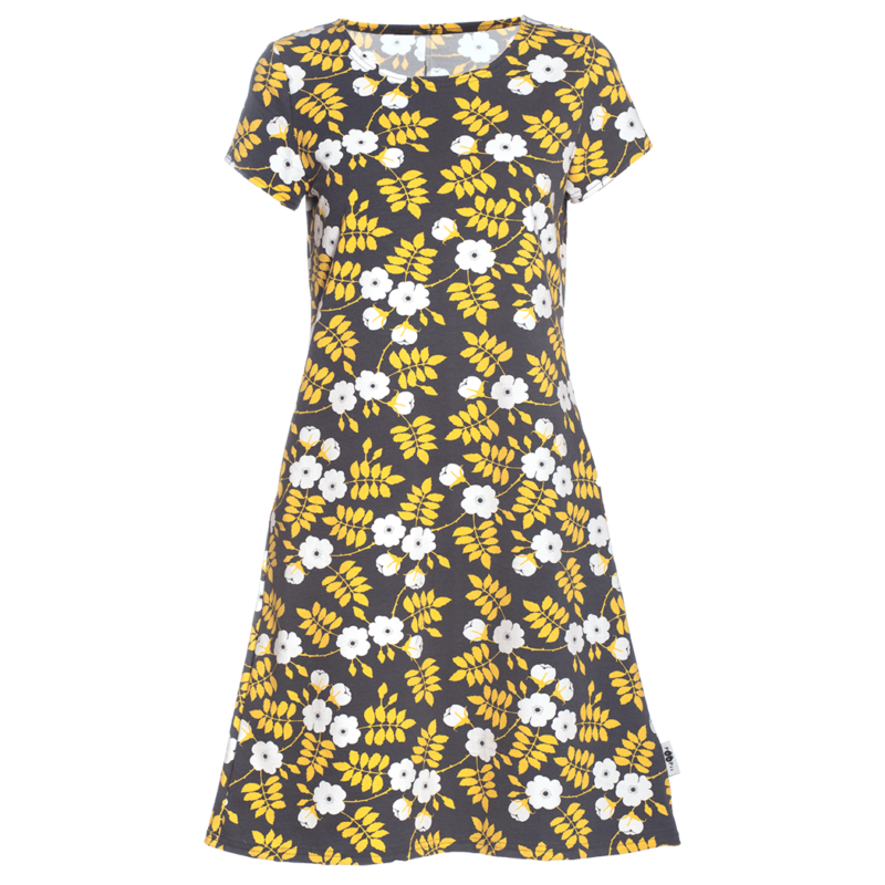 PaaPii Design Sointu mekko Juhannusruusu tummanharmaa-keltainen
