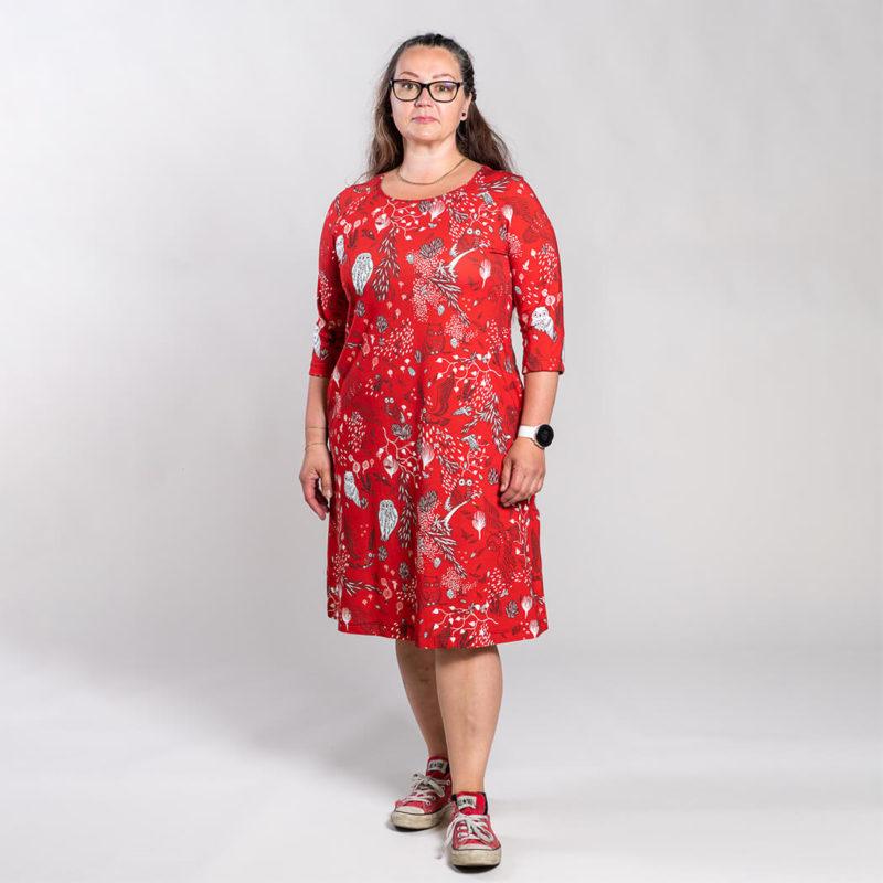 Ehta Marjukka mekko Owls punainen 3