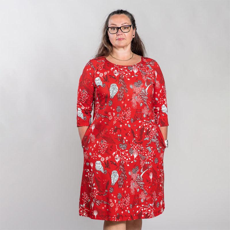 Ehta Marjukka mekko Owls punainen 5