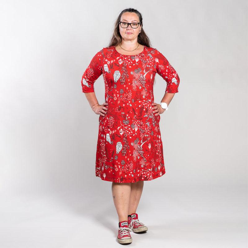 Ehta Marjukka mekko Owls punainen 6