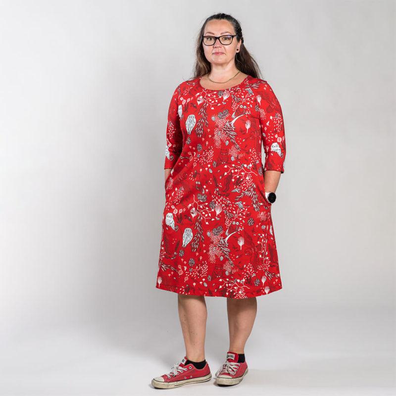 Ehta Marjukka mekko Owls punainen