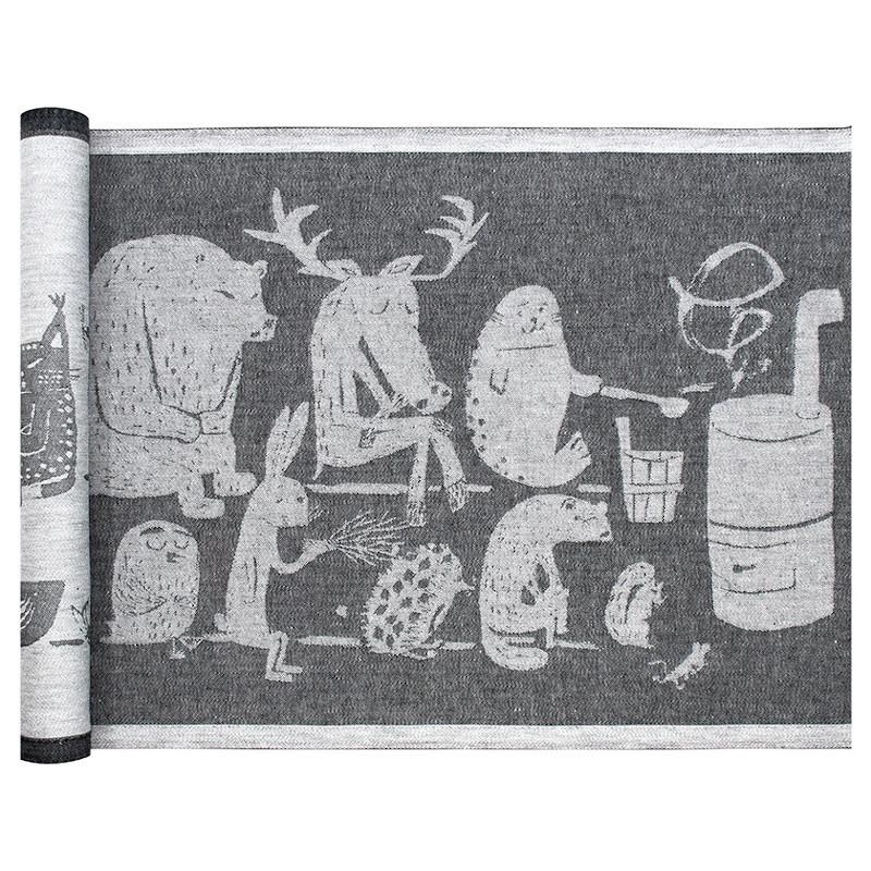 Lapuan Kankurit Eläinten Sauna laudeliina 46x60cm valko-musta