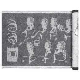 Lapuan Kankurit Naisten Sauna laudeliina 46x150cm valko-musta