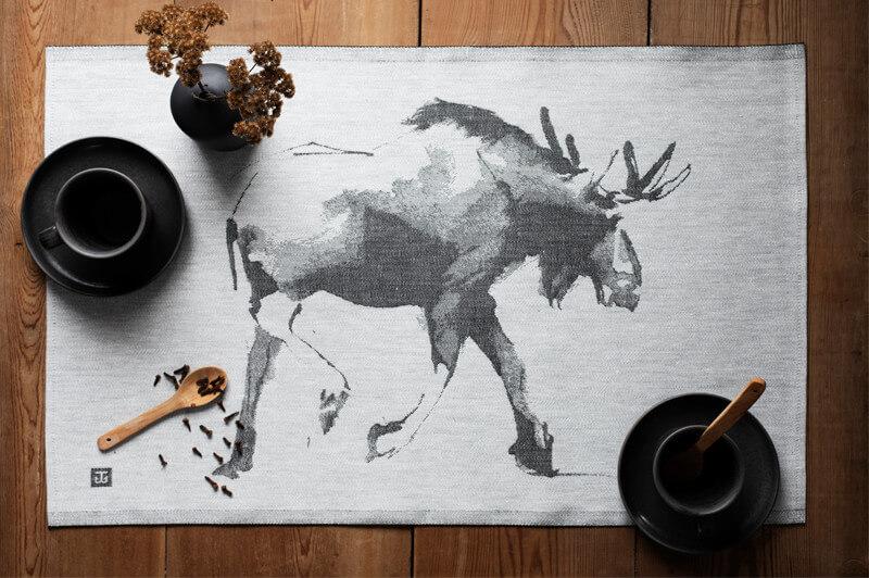 Lapuan Kankurit Teemu Järvi Hirvi pyyhe 46x70cm valko-musta 3