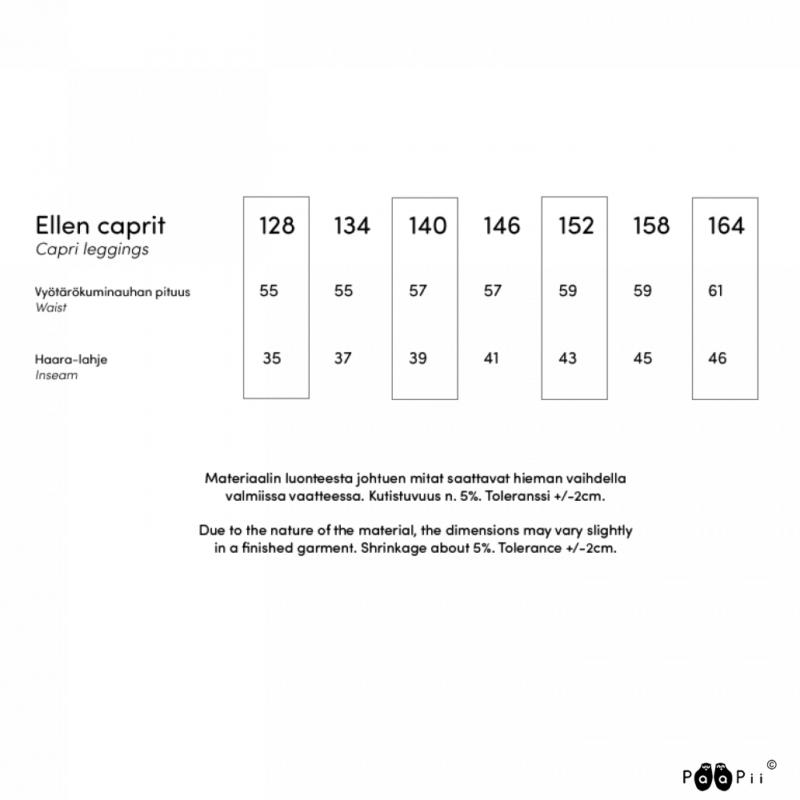 PaaPii Design Ellen caprit kokotaulukko