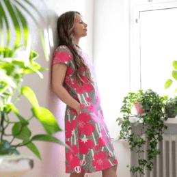 PaaPii Design Sointu mekko Niittyleinikki pinkki 1